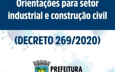 Decreto estabelece medidas para o setor industrial e da construção civil